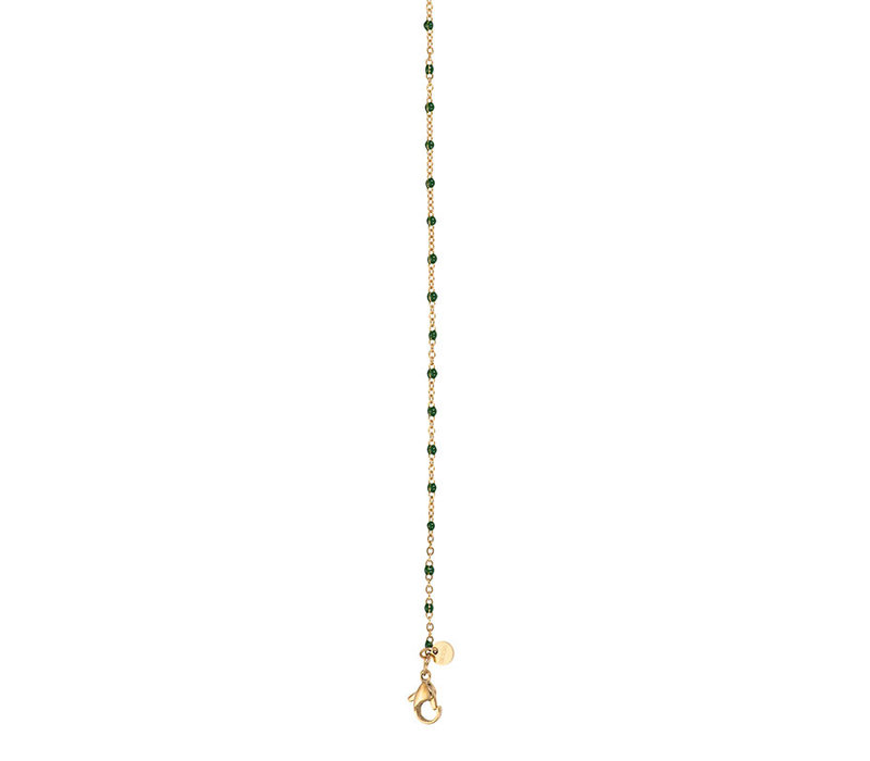 iXXXi Halskette Necklace Green beads 50+5cm gold