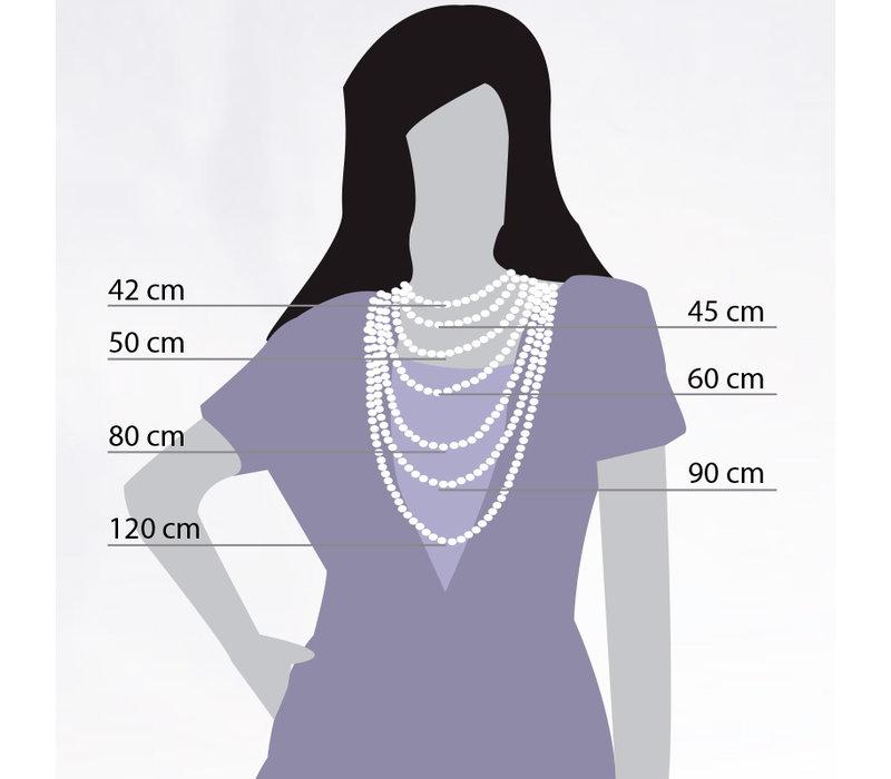 iXXXi Halskette Necklace Grey beads 50+5cm gold
