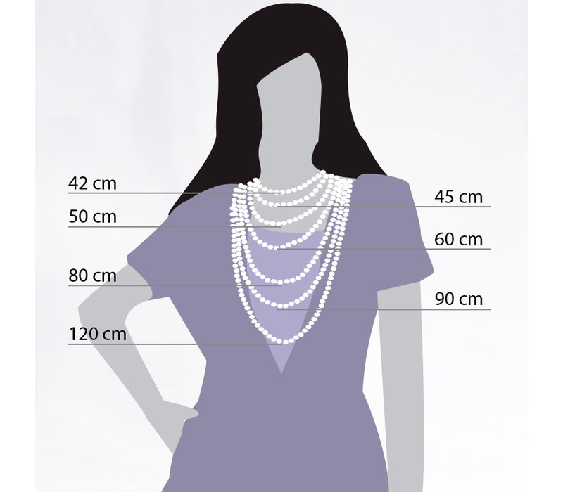iXXXi Halskette Necklace Grey beads 50+5cm rosegold