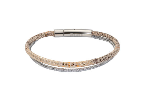 iXXXi Armband Brace doppelt Schlangenprint silber