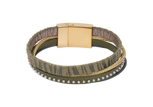 iXXXi Armband Brace multi Zebraprint grün gold