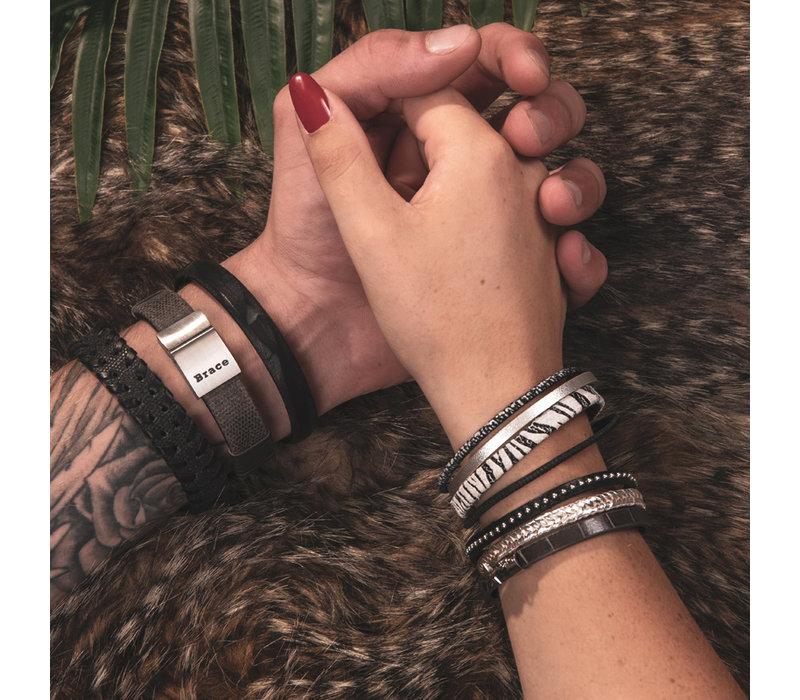 iXXXi Armband Brace multi Zebraprint silber matt