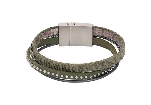 iXXXi Armband Brace multi Zebraprint grün silber matt