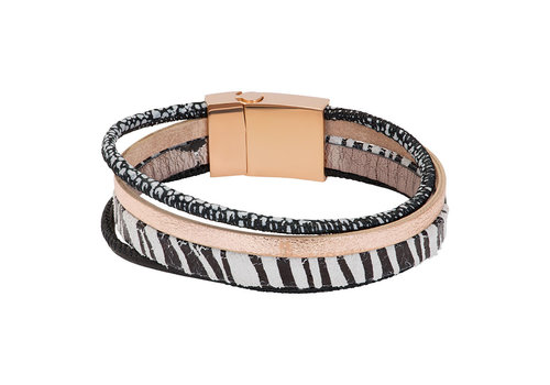 iXXXi Armband Brace multi Zebraprint weiß rosegold