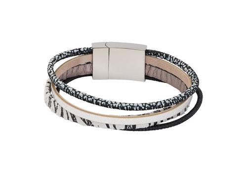 iXXXi Armband Brace multi Zebraprint weiß silber