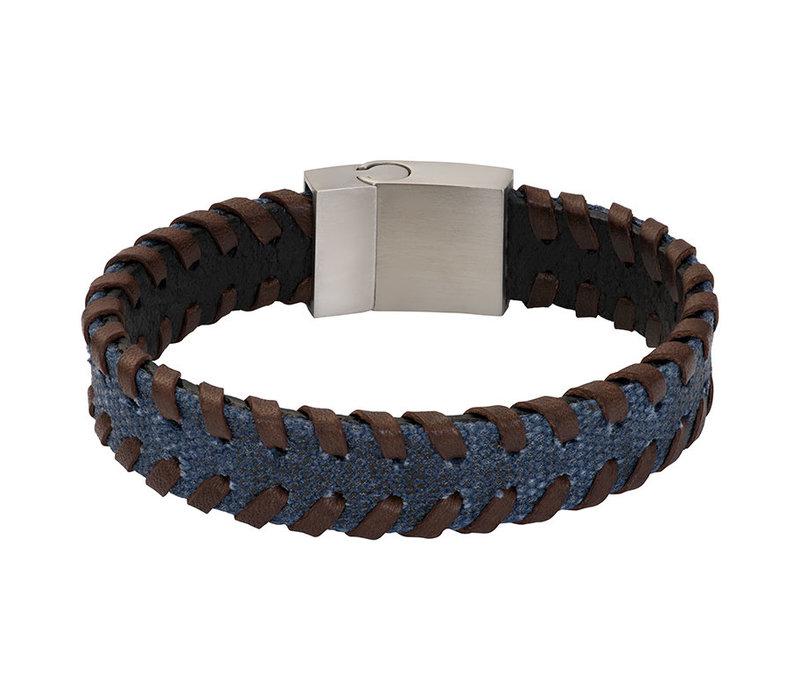 iXXXi Herren Armband geflochten braun/blau
