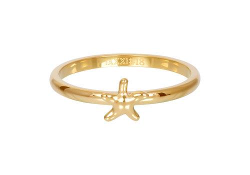 Füllring 2 mm Symbol Seestern gold
