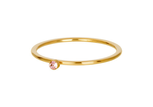Füllring 1 mm Pink 1 stone crystal gold