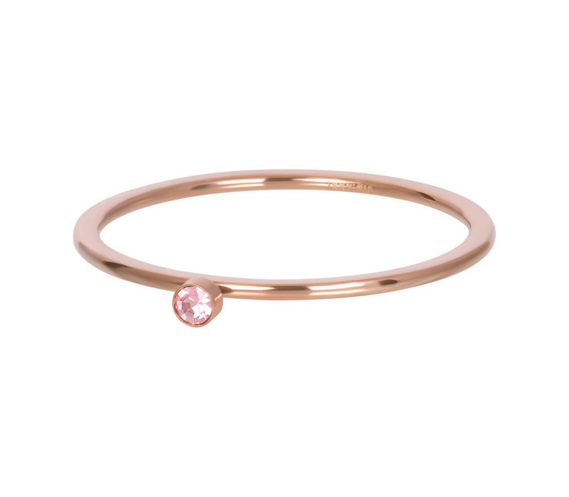 Füllring 1 mm Pink 1 stone crystal rosegold