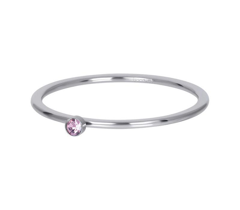 Füllring 1 mm Pink 1 stone crystal silber