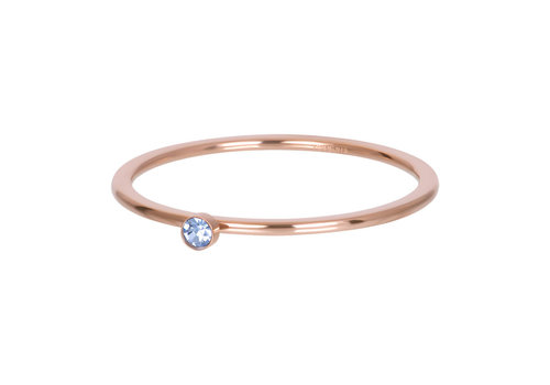 Füllring 1 mm Light Sapphire 1 stone crystal rosegold