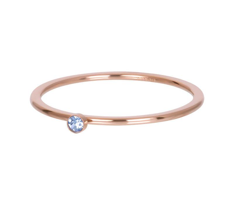 Füllring 1 mm Light Sapphire 1 stone crystal rosegold