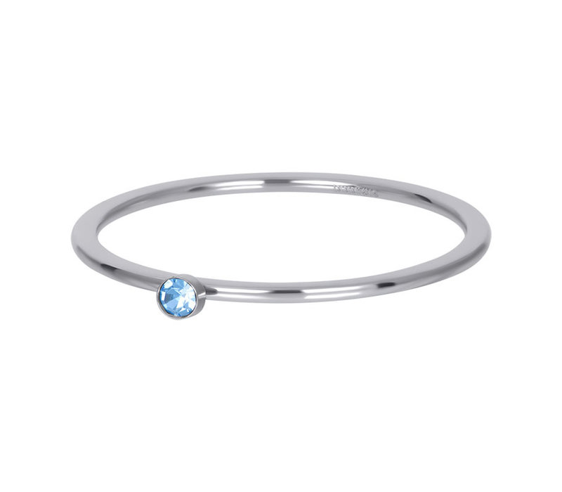 Füllring 1 mm Light Sapphire 1 stone crystal silber