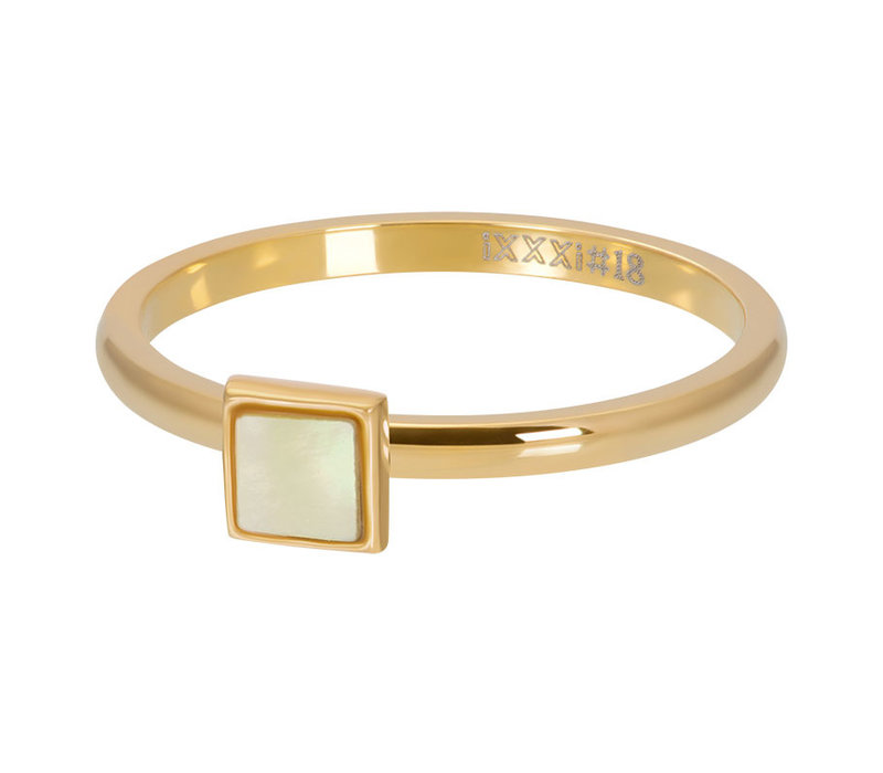 Füllring 2 mm Yellow Shell Stone Square gold
