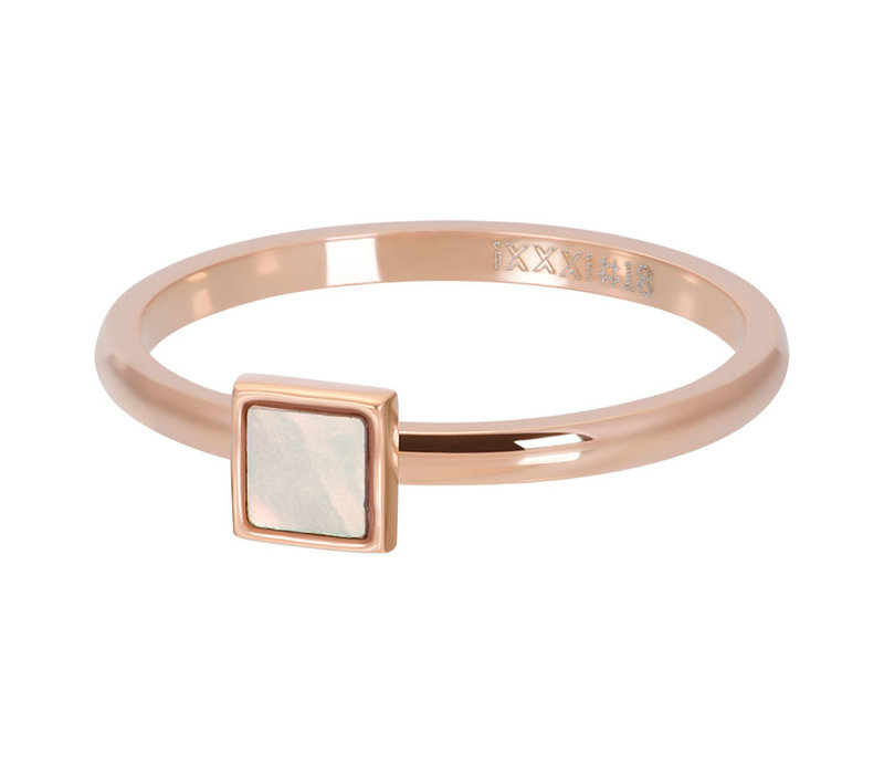 Füllring 2 mm Pink Shell Stone Square rosegold