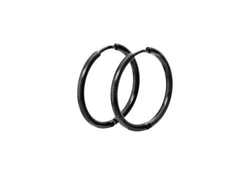 Ohrringe Creolen 24 mm schwarz