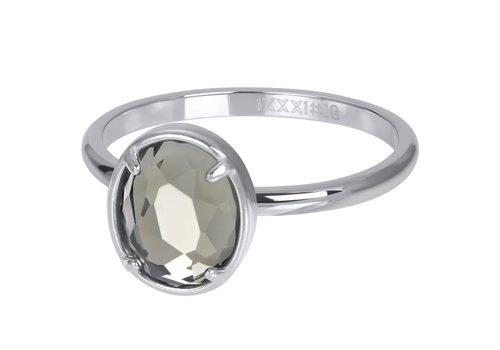 Füllring 2 mm Glam Oval Crystal silber