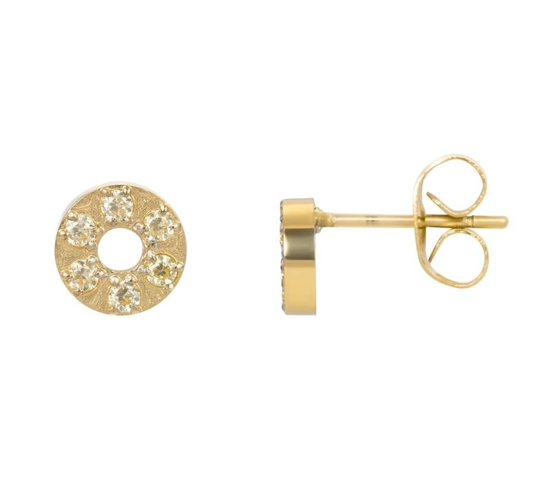 Ohrstecker Circle Stone 6mm gold