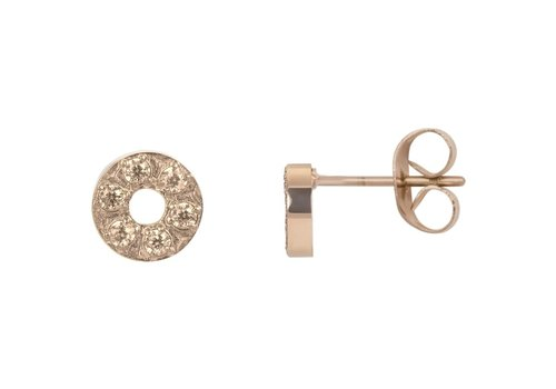 Ohrstecker Circle Stone 6mm rosegold