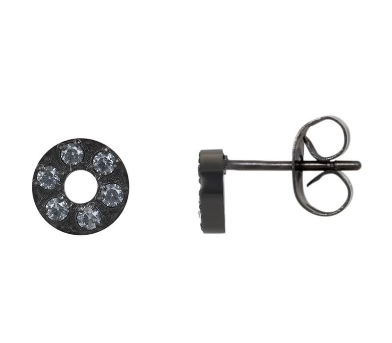 Ohrstecker Circle Stone 6mm schwarz
