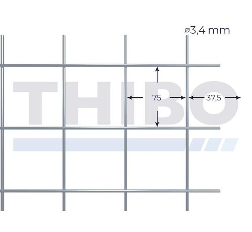 Thibo Mesh panel 3600x2100 mm with mesh 75x75 mm, spot welded from pre-galvanized wire 3,4 mm