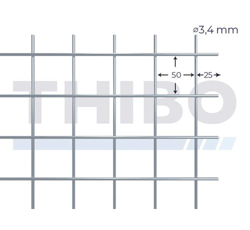Thibo Mesh panel 3600x2100 mm with mesh 50x50 mm, spot welded from pre-galvanized wire 3,4 mm