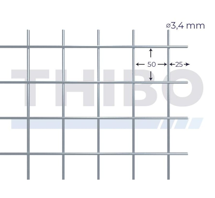 Mesh panel 3600x2100 mm with mesh 50x50 mm, spot welded from pre-galvanized wire 3,4 mm