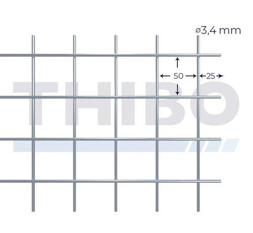 Thibo Stahlmat 2500x2000 mm mit Masche 50x50 mm, gepunktgeschweißt aus Vorverzinkter Draht 3,4 mm