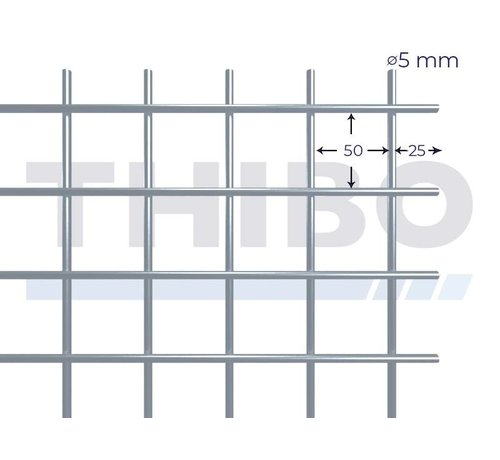 Thibo Mesh panel 2000x1000 mm with mesh 50x50 mm, spot welded from RVS 304 wire 5,0 mm