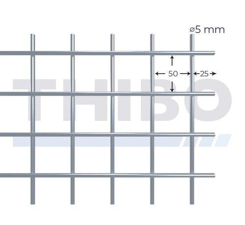 Thibo Stahlmat 2000x1000 mm mit Masche 50x50 mm, gepunktgeschweißt aus RVS 304 Draht 5,0 mm