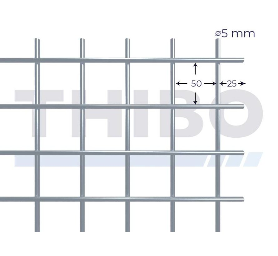 Mesh panel 2000x1000 mm with mesh 50x50 mm, spot welded from RVS 304 wire 5,0 mm