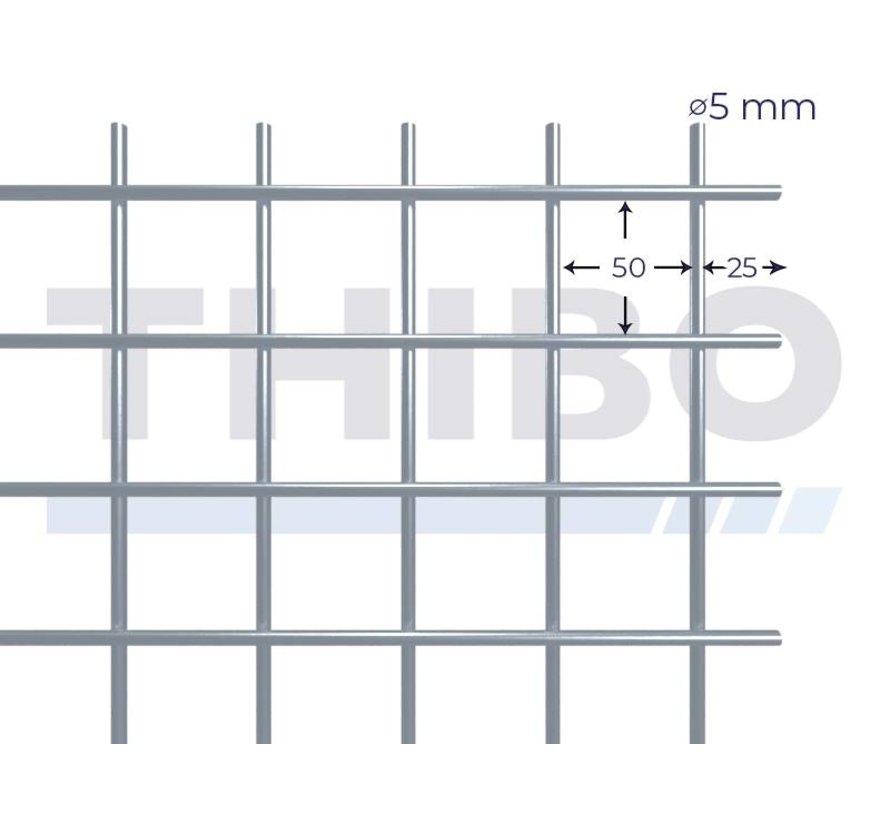 Stahlmat 2000x1000 mm mit Masche 50x50 mm, gepunktgeschweißt aus RVS 304 Draht 5,0 mm