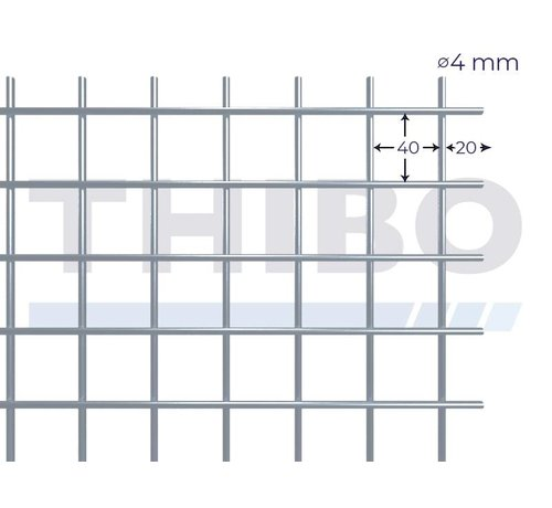 Thibo Mesh panel 2000x1000 mm with mesh 40x40 mm, spot welded from RVS 304 wire 4,0 mm