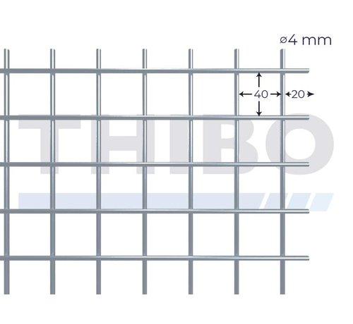 Thibo Stahlmat 2000x1000 mm mit Masche 40x40 mm, gepunktgeschweißt aus RVS 304 Draht 4,0 mm