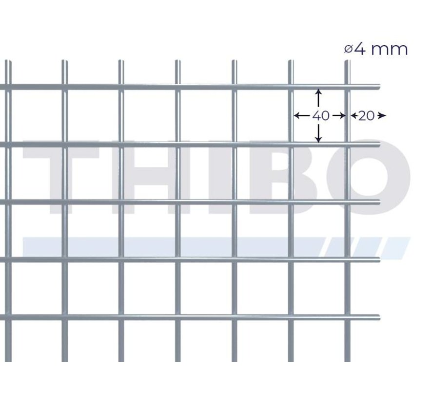 Mesh panel 2000x1000 mm with mesh 40x40 mm, spot welded from RVS 304 wire 4,0 mm