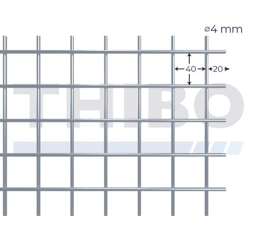 Stahlmat 2000x1000 mm mit Masche 40x40 mm, gepunktgeschweißt aus RVS 304 Draht 4,0 mm