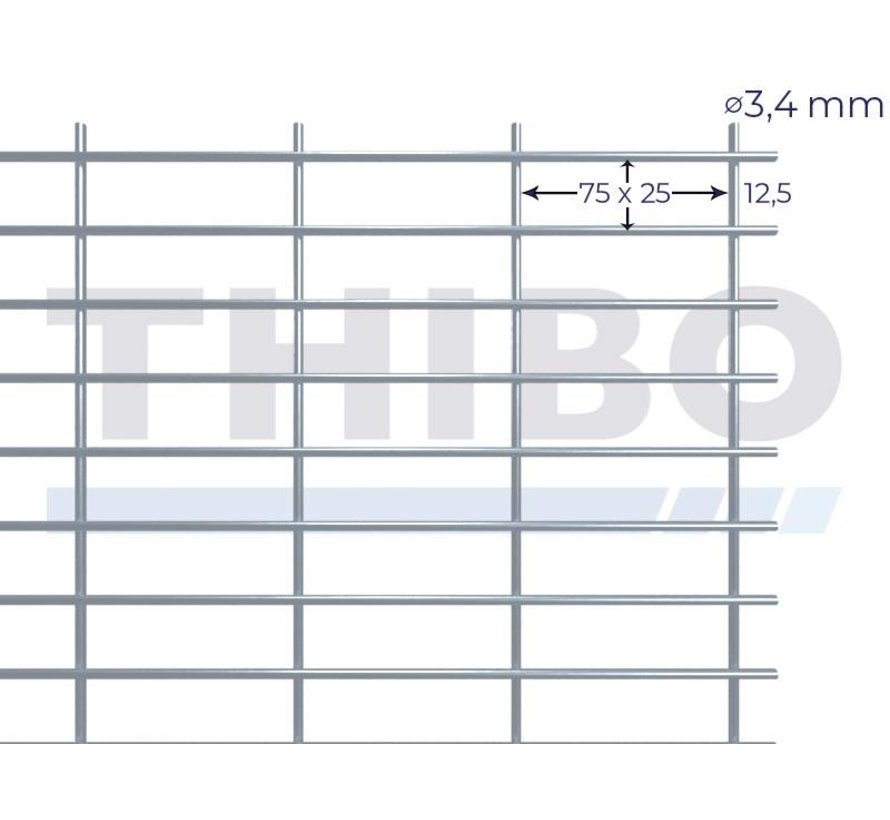 Mesh panel 2500x2000 mm with mesh 75x25 mm, spot welded from bright wire 3,4 mm