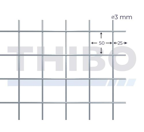 Thibo Mesh panel 3000x1500 mm with mesh 50x50 mm, spot welded from bright wire 3,0 mm
