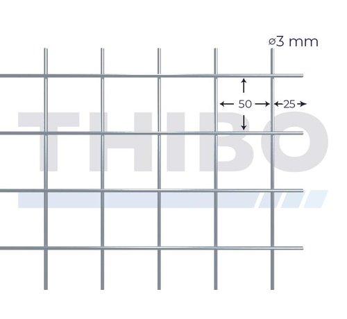 Thibo Stahlmat 2500x2000 mm mit Masche 50x50 mm, gepunktgeschweißt aus blanker Draht 3,0 mm