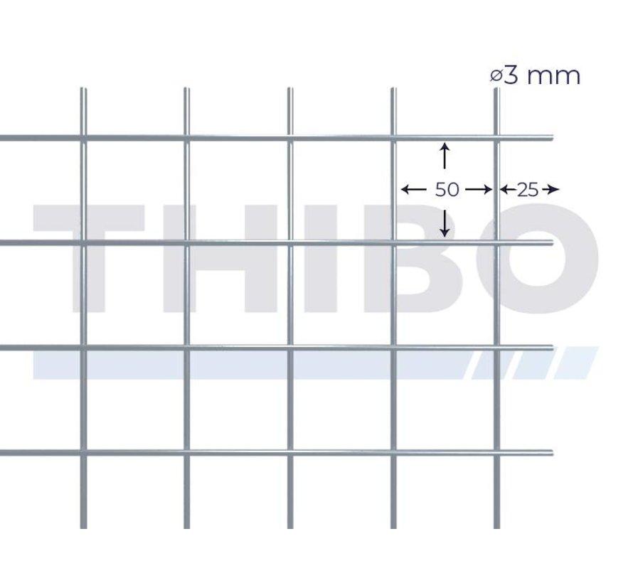 Gaaspaneel 2500x2000 mm met maas 50x50 mm, uit blanke draad 3,0 mm