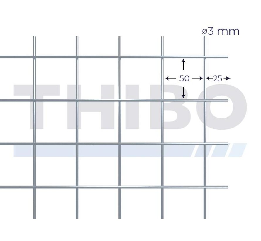 Mesh panel 2500x2000 mm with mesh 50x50 mm, spot welded from bright wire 3,0 mm