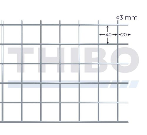 Thibo Mesh panel 3000x1500 mm with mesh 40x40 mm, spot welded from bright wire 3,0 mm