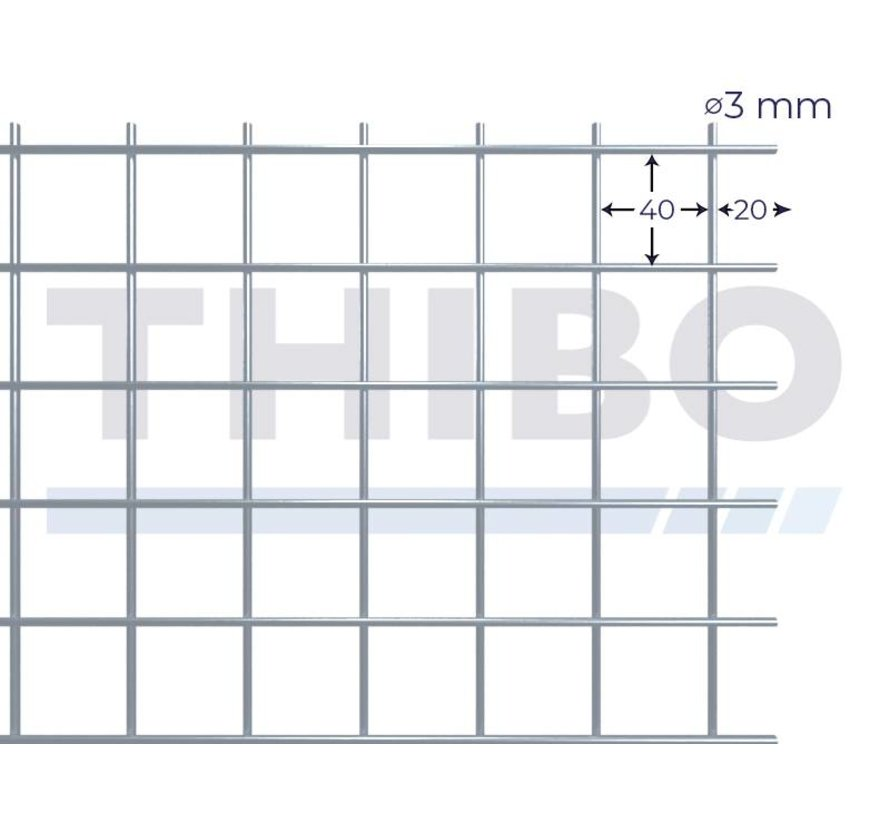 Mesh panel 3000x1500 mm with mesh 40x40 mm, spot welded from bright wire 3,0 mm