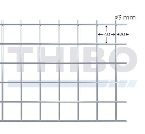 Gaaspaneel 3000x1000 mm met maas 40x40 mm, uit blanke draad 3,0 mm
