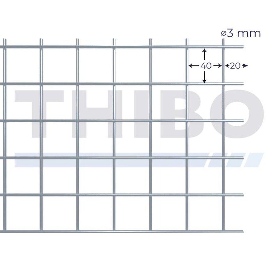 Gaaspaneel 3 x 1 meter met maas 40 x 40 mm, uit blanke draad 3,0 mm