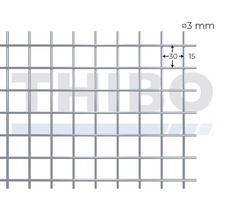 Gaaspaneel 2,5 x 1,25 meter met maas 30 x 30 mm, uit blanke draad 3,0 mm