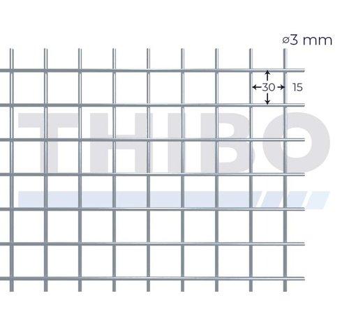 Gaaspaneel 3000x1000 mm met maas 30x30 mm, uit blanke draad 3,0 mm
