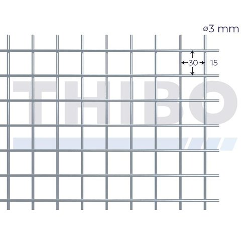 Thibo Mesh panel 3000x1000 mm with mesh 30x30 mm, spot welded from bright wire 3,0 mm