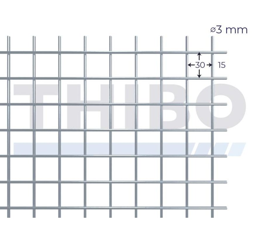 Mesh panel 3000x1000 mm with mesh 30x30 mm, spot welded from bright wire 3,0 mm