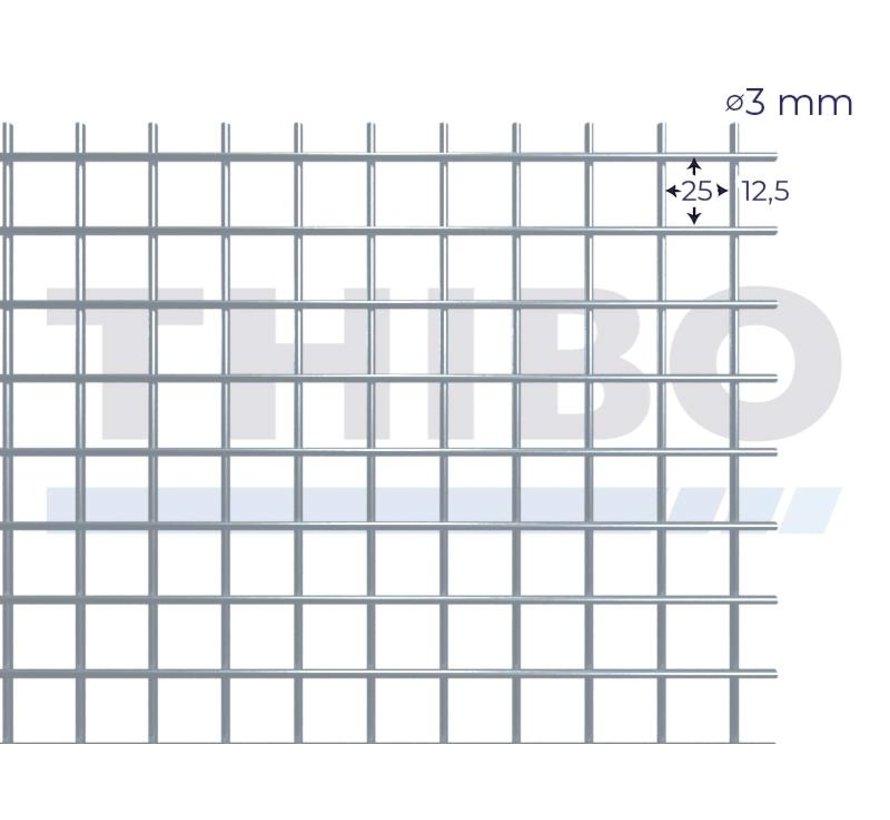 Gaaspaneel 2 x 1 meter met maas 25 x 25 mm, uit blanke draad 3,0 mm